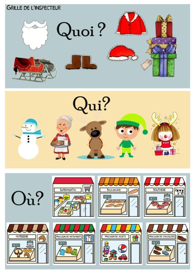 Le cluedo de Noël Jeu FLE