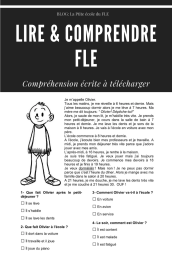 COMPREHENSION ORALE FLE La journee d'Olivier