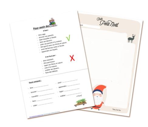 FLE lettre au pere Noel enfants Passé composé pdf télécharger cours français