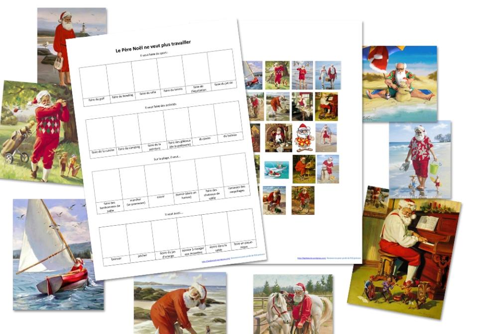 Le Pere Noel activité été FLE vacances télécharger PDF