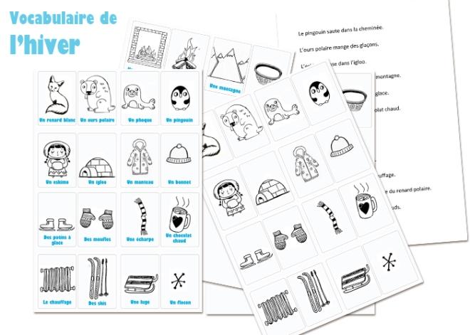 Vocabulaire Hiver FLE telecharger pdf activité enfant français lexique jeu Flashcards