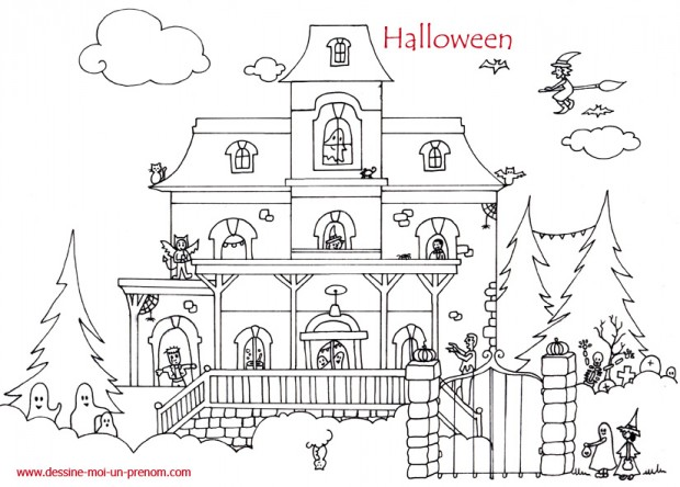 coloriage-maison-hantee-halloween-description étage