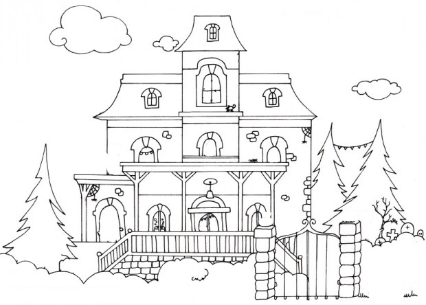 coloriage-maison-hantee-halloween-description étge