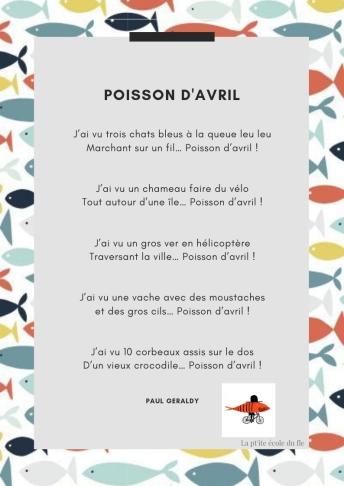 POisson d'avril FLE French Poésie Poème Enfants